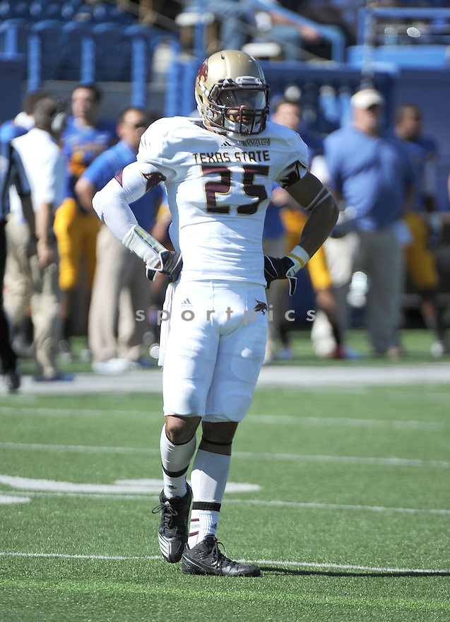 Texas State Bobcats Craig Mager (25) in action during a game against San Jose State on October 27, 2012 at Spartan Stadium in San Jose, CA. San Jose State beat Texas State 31-20.
