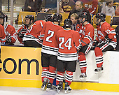 NU ?, Louis Liotti, Andrew Linard, Denis Chisholm, Gene Reilly, Chuck Tomes, Brian Deeth - The Boston College Eagles defeated the Northeastern University Huskies 5-2 in the opening game of the 2006 Beanpot at TD Banknorth Garden in Boston, MA, on February 6, 2006.