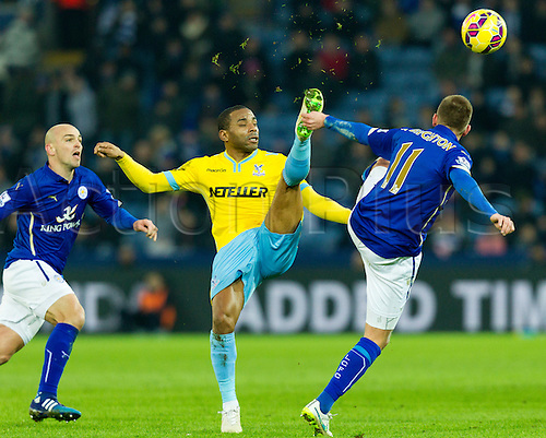 07.02.2015.  Leicester, England. Barclays Premier League. Leicester City versus Crystal Palace. Jason Puncheon (Crystal Palace) and Marc Albrighton of Leicester City compete for the ball.