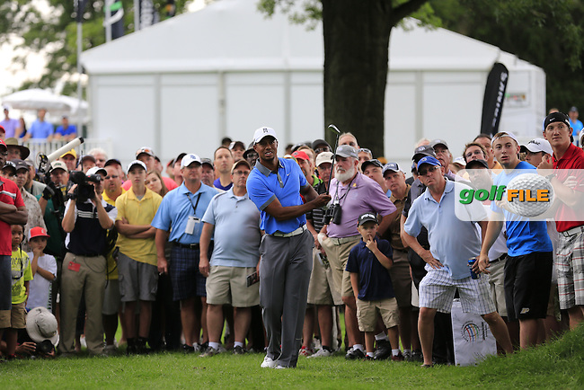 Tiger Woods (USA) plays his 2nd shot from the crowd on the 14th hole during Friday's Round 1 of the 2013 Bridgestone Invitational WGC tournament held at the Firestone Country Club, Akron, Ohio. 2nd August 2013.<br /> Picture: Eoin Clarke www.golffile.ie