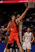 25th March 2018, Madrid, Spain; Endesa Basketball League, Real Madrid versus Valencia; Tibor Pleiss (Valencia Basket) lays up against the defence by Walter Tavares (Real Madrid Baloncesto)