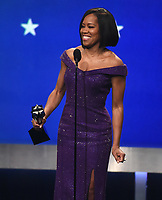SANTA MONICA - JANUARY 13: Regina King accepts the award for Best Supporting Actress (Film) on the 24th Annual Critics' Choice Awards at the Barker Hangar on January 13, 2019, in Santa Monica, California. (Photo by Frank Micelotta/PictureGroup)