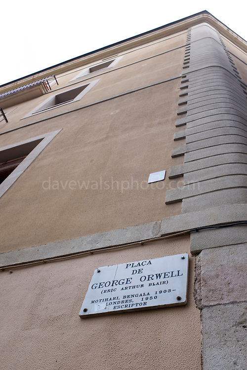 Placa de George Orwell, Barcelona, named in March 1996 for the English writer of Homage to Catalonia. Ironically, it was the first square in the city to have video camera surveillance, 24 hours a day.
