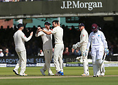 9th September 2017, Lords Cricket Ground, London, England; International test match series, third test, Day 3; England versus West Indies; England Bowler Toby Rolland-Jones celebrates taking the wicket of West Indies Shane Dowrich with Ben Stokes, after Dorwich sliced his shot straight into the hands of England's Stuart Broad
