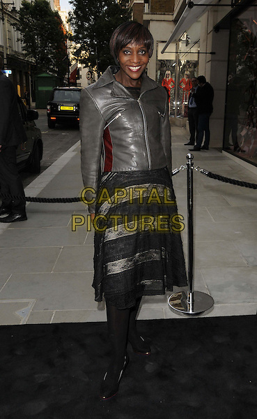 Brenda Emmanus<br /> The Chanel new flagship boutique launch party, Chanel, New Bond St., London, England.<br /> June 10th, 2013<br /> full length black sheer lace dress leather jacket brown <br /> CAP/CAN<br /> &copy;Can Nguyen/Capital Pictures