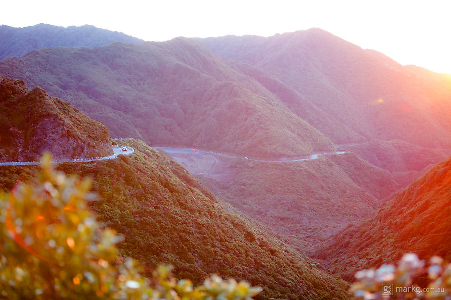 Cars traveling up the Rimutaka Hill coming from Wellington. On the other side of this hill is the start of the Wairarapa.