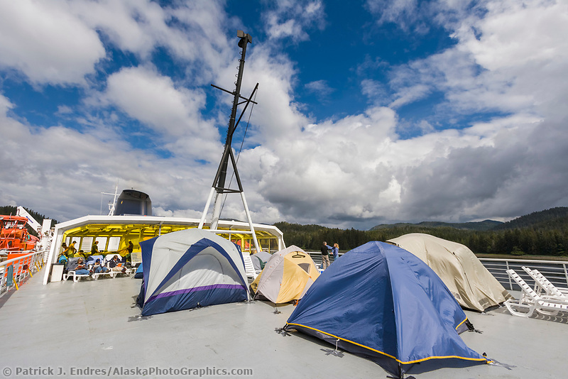 Tent campers on the deck of the Alaska marine ferry Matanuska.