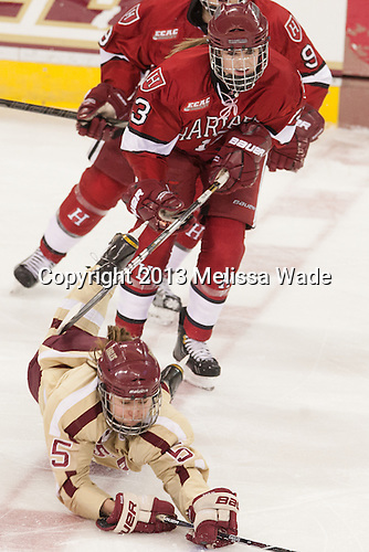 Alex Carpenter (BC - 5), Kalley Armstrong (Harvard - 13) - The Boston College Eagles defeated the visiting Harvard University Crimson 3-1 in their NCAA quarterfinal matchup on Saturday, March 16, 2013, at Kelley Rink in Conte Forum in Chestnut Hill, Massachusetts.