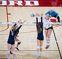 STANFORD, CA - December 1, 2018: Kathryn Plummer, Morgan Hentz at Maples Pavilion. The Stanford Cardinal defeated Loyola Marymount 25-20, 25-15, 25-17 in the second round of the NCAA tournament.