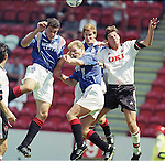 Action Stations!!!.Gordan Petric, Gordon Durie and Richard Gough mount an attack against Clyde