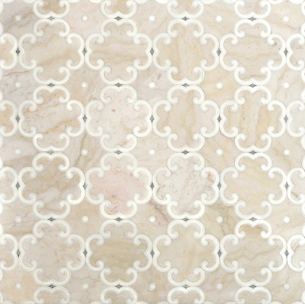 Hercule, a handmade mosaic shown in honed Cloud Nine, Thassos and Ming Green, was designed by Sara Baldwin for New Ravenna.<br />