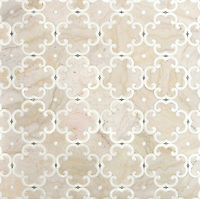 Hercule, a handmade mosaic shown in honed Cloud Nine, Thassos and Ming Green, was designed by Sara Baldwin for New Ravenna.<br /> <br /> As seen in Veranda.<br /> <br /> For pricing samples and design help, click here: http://www.newravenna.com/showrooms/