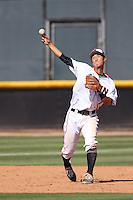 Yusuke Akitoshi (7) of the Cal State Northridge Matadors makes a throw during a game against the UC Santa Barbara Gouchos at Matador Field on April 10, 2015 in Northridge, California. UC Santa Barbara defeated Cal State Northridge, 7-4. (Larry Goren/Four Seam Images)