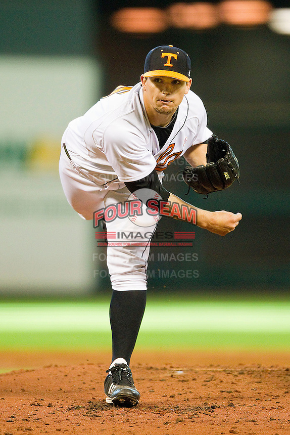 Tennessee Volunteers starting pitcher Zack Godley #15 follows through on his delivery against the Texas Longhorns at Minute Maid Park on March 3, 2012 in Houston, Texas.  The Volunteers defeated the Longhorns 5-4.  (Brian Westerholt/Four Seam Images)