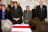 United States Supreme Court Justices Elena Kagan, left, Samuel Anthony Alito, Jr., Ruth Bader Ginsburg, and Anthony M. Kennedy react during prayers at a private ceremony in the Great Hall of the US Supreme Court where late Supreme Court Justice Antonin Scalia lies in repose in Washington, DC on Friday, February 19, 2016. <br /> Credit: Jacquelyn Martin / Pool via CNP