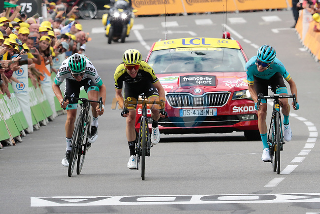 Simon Yates (GBR) Mitchelton-Scott wins Stage 12, ahead of Pello Bilbao (ESP) Astana Pro Team and Gregor Mühlberger (AUT) Bora-Hansgrohe, of the 2019 Tour de France running 209.5km from Toulouse to Bagneres-de-Bigorre, France. 18th July 2019.<br /> Picture: ASO/Colin Flockton | Cyclefile<br /> All photos usage must carry mandatory copyright credit (© Cyclefile | Colin Flockton)