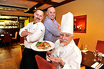 Chef Michel Treyvaud and his sons Mark, left and Paul at Treyvaud's Resturant, High Street, KIllarney with his signature duck dish  which he once prepared for Elvis Presley..Picture by Don MacMonagle