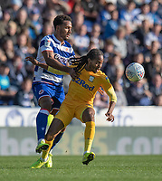 Reading's Liam Moore (left) battles for possession with Preston North End's Daniel Johnson (right) <br /> <br /> Photographer David Horton/CameraSport<br /> <br /> The EFL Sky Bet Championship - Reading v Preston North End - Saturday 19th October 2019 - Madejski Stadium - Reading<br /> <br /> World Copyright © 2019 CameraSport. All rights reserved. 43 Linden Ave. Countesthorpe. Leicester. England. LE8 5PG - Tel: +44 (0) 116 277 4147 - admin@camerasport.com - www.camerasport.com