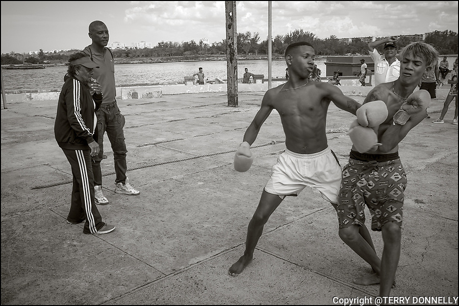 Cojimar, Cuba:<br /> Boxing youths in a park of Cojimar