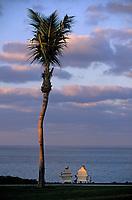 """Iles Bahamas / New Providence et Paradise Island / Nassau: Hotel """"One & Only Océan Club"""" lumière du soir sur le parc et l'océan"""