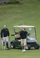 June 23, 2008:  Hollywood comedian Kato Kaelin watches his ball go to the green on hole #5 while playing in the Detlef Schrempf celebrity golf classic held at McCormick Woods golf club in Port Orchard, WA.
