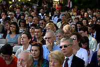 Parents, family and friends, gather in Killian Court to watch the MIT Commencement on June 8, 2012, in Cambridge, Massachusetts, USA...Photo by M. Scott Brauer