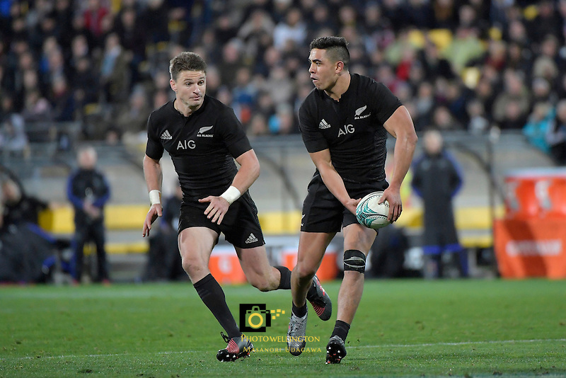 All Blacks' Anton Lienert-Brown and  Beauden Barrett in action during the All Blacks v Wallabies. The Rugby Championship &amp; Bledisloe Cup at Westpac Stadium, Wellington, New Zealand on Saturday 27 August 2016.<br /> Photo by Masanori Udagawa. <br /> www.photowellington.photoshelter.com.