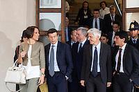 06/05/2013 Milano: Nunzia De Girolamo,Maurizio Lupi e Massimo Bray prima dell'incontro con il Presidente del Consiglio Enrico Letta per la nomina di Giuseppe Sala a commissario Expo 2015