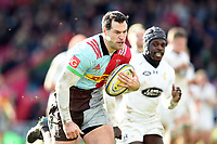 Tim Visser of Harlequins runs in a try. Aviva Premiership match, between Harlequins and Wasps on February 11, 2018 at the Twickenham Stoop in London, England. Photo by: Patrick Khachfe / JMP