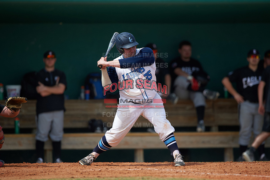 Lasell Lasers first baseman Brett Sherron (35) at bat during the first game of a doubleheader against the Edgewood Eagles on March 14, 2016 at Terry Park in Fort Myers, Florida.  Edgewood defeated Lasell 10-2.  (Mike Janes/Four Seam Images)