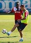 Getafe's Djene Dakoman (l) and Juan Cala during training session. September 12,2017.(ALTERPHOTOS/Acero)