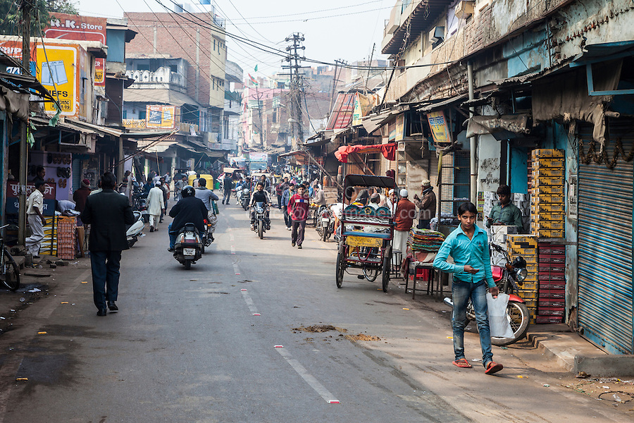 Agra, India.  Street Scene, Kinari Bazaar Area.