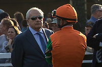 ARCADIA, CA  DECEMBER 26: Trainer Jerry Hollendorfer and Mike Smith in the paddock before the La Brea Stakes (Grade l), on December 26, 2017, at Santa Anita Park in Arcadia, CA. (Photo by Casey Phillips/ Eclipse Sportswire/ Getty Images)