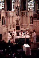 Funeral of Baby Hope on July 23, 1993 in St. Elizabeth's Church in the Bronx in New York. Baby Hope was an abandoned child never identified found on the side of the West Side Highway, DOA in an ice cooler on July 23, 1991. The detectives from the 34th Precinct organized and paid for the funeral of the 5 year old two years after her body was found. (© Frances M. Roberts)