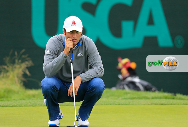 Jon Rahm (AM)(ESP) lines up his putt on the 8th green during Friday's Round 1 of the 2016 U.S. Open Championship held at Oakmont Country Club, Oakmont, Pittsburgh, Pennsylvania, United States of America. 17th June 2016.<br /> Picture: Eoin Clarke   Golffile<br /> <br /> <br /> All photos usage must carry mandatory copyright credit (&copy; Golffile   Eoin Clarke)