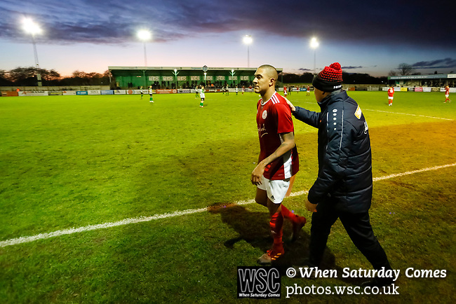 Kevin Wilkin manager of Brackley Town congratulates Glenn Walker after his substitution. Blyth Spartans v Brackley Town, 30112019. Croft Park, National League North. Photo by Paul Thompson.