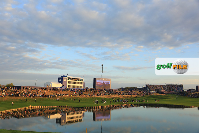 General view looking back down 1st hole during the Friday Fourballs at the Ryder Cup, Le Golf National, Paris, France. 27/09/2018.<br /> Picture Phil Inglis / Golffile.ie<br /> <br /> All photo usage must carry mandatory copyright credit (© Golffile | Phil Inglis)