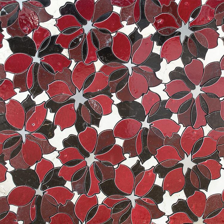 Sybil, a waterjet stone mosaic, shown in honed Bianco Antico, polished Red Lake, Saint Laurent, Zinnia Basalto, and brushed Aluminum, is part of the Bright Young Things™ collection by New Ravenna.