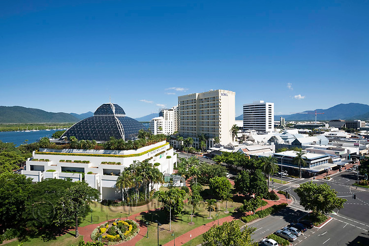 City skyline including Reef Hotel Casino and Sebel Hotel.  Cairns, Queensland, Australia