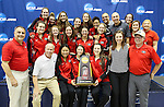 19 MAR 2016: Members of the Georgia Bulldogs swim team celebrate with the 2016 championship trophy after winning the Division I Women's Swimming & Diving Championship held at the Georgia Tech Aquatic Center in Atlanta, GA. Georgia claimed the title over Stanford with a score of 414. David Welker/NCAA Photos