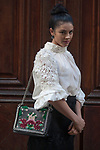 Street Style during Paris Fashion Week Spring Summer 2018 on Saturday 30th September 2017. Image shows actress and presenter Brooke Chamberlain. She wears a white silk top and a black Cuba skirt both by Lisa Brown Designs, with a bag from Zara.(Photo by JSTREETSTYLE/AFLO)(Photo by JSTREETSTYLE/AFLO)