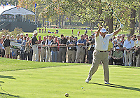 25 SEP 12  Lee Trevino thanks the crowd during Tuesdays Celebrity Scramble at The 39th Ryder Cup at The Medinah Country Club in Medinah, Illinois.
