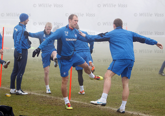 Andy Webster, Steven Naismith, Steven Whittaker and Kyle Hutton at training