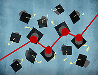 Rising line graph connecting graduation mortar boards