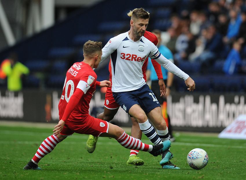Preston North End's Paul Gallagher under pressure from Barnsley's Callum Styles<br /> <br /> Photographer Kevin Barnes/CameraSport<br /> <br /> The EFL Sky Bet Championship - Preston North End v Barnsley - Saturday 5th October 2019 - Deepdale Stadium - Preston<br /> <br /> World Copyright © 2019 CameraSport. All rights reserved. 43 Linden Ave. Countesthorpe. Leicester. England. LE8 5PG - Tel: +44 (0) 116 277 4147 - admin@camerasport.com - www.camerasport.com