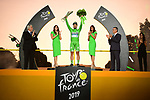 Peter Sagan (SVK) Bora-Hansgrohe wins the points Green Jersey for a record 7th time on the final podium at the end of Stage 21 of the 2019 Tour de France running 128km from Rambouillet to Paris Champs-Elysees, France. 28th July 2019.<br /> Picture: ASO/Pauline Ballet | Cyclefile<br /> All photos usage must carry mandatory copyright credit (© Cyclefile | ASO/Pauline Ballet)