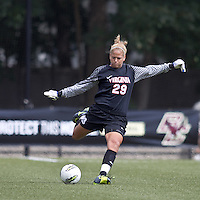 University of Virginia goalkeeper Chantel Jones (29). Boston College defeated University of Virginia, 2-0, at the Newton Soccer Field, on September 18, 2011.