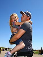 May 21, 2017; Topeka, KS, USA; NHRA pro mod driver Steve Jackson celebrates with his daughter after winning the Heartland Nationals at Heartland Park Topeka. Mandatory Credit: Mark J. Rebilas-USA TODAY Sports