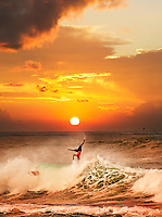 A spectacular surfing action at sunset.
