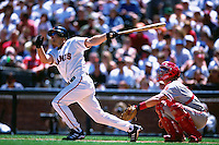 SAN FRANCISCO, CA - Jeff Kent of the San Francisco Giants bats against the Philadelphia Phillies during a game at AT&T Park in San Francisco, California in 2001. Photo by Brad Mangin